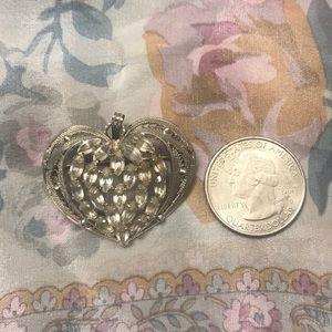 Vintage Sterling Silver Heart Pendant or Brooch